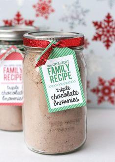 $3 Gift Idea: Brownies in Jar + Printable