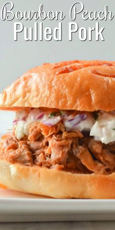Crock Pot Bourbon Peach Pulled Pork makes the most delicious Pulled Pork Sandwiches! These are perfect for dinner or a party. A favorite crock pot recipe from Serena Bakes Simply From Scratch. Brunch Recipes, Meat Recipes, Slow Cooker Recipes, Crockpot Recipes, Breakfast Recipes, Dinner Recipes, Crockpot Dishes, Delicious Recipes, Recipies