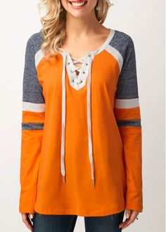 Long Sleeve Lace Up Front T Shirt on sale only US$30.64 now, buy cheap Long Sleeve Lace Up Front T Shirt at liligal.com