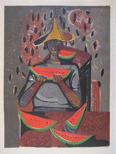 RUFINO TAMAYO (b.1899) NEW YORK VINTAGE MODERNISM BLACK AMERICANA SERIGRAPH #Abstract