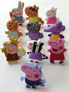 Sale Peppa Pig and Friends Rings Party Favors Cupcake Toppers 10 Pieces Peppa Pig Cookie, Peppa Pig Birthday Cake, 3rd Birthday, Pig Cupcakes, Pig Cookies, Papa Pig, Cumple Peppa Pig, Peppa Pig Family, Pig Party