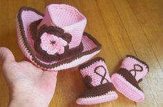 Baby Cowboy Hat and Boots set Pink and by conniemariepfost on Etsy, $50.00