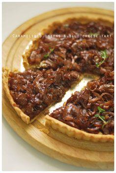 caramlelised onion and blue cheese tart