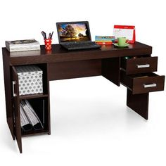 Fab Home Ankara Study Table - Study Smart Functional yet stylish study desk for modern homes. Multiple drawers and shelf space for organized storage and display. Also ideal for your laptop.  Perfectly created Expertly crafted out of premium particle board for optimum resilience and long lasting use. Available in a rich wenge color with a sleek melamine finish! Get the look Mix and match with coordinating accents to complete the look.