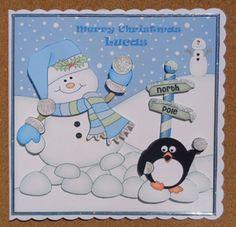 Card Gallery - 8 x 8 Christmas Snowman Oli Snowball Scalloped Corner Topper