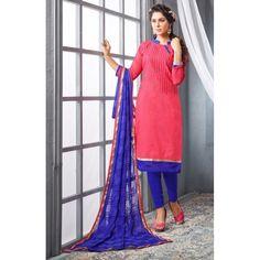Chanderi Cotton Dull Pink Churidar Suit Dress Material - 16515