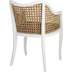 Shop tayabas cane side chair and black cushion.   Airy rattan accent slicks up a nouveau take on tradition.  Handwoven of natural rattan, breezy seat and back keep things light, framed in solid mahogany lacquered hi-gloss white.