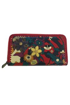 Beautiful floral print. Very durable! Antique brass tone hardware.Zipper closure. Interior features 12 credit card slots and a zippered coin pocket. Back pocket each side for bills. Wipe clean with barely damp cloth and air dry.    Dimensions: 8in L x 1in W x 4.5in H   Large Zip Wallet by Sakroots. Bags - Wallets & Wristlets Canada