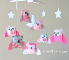 Baby Girl Mobile - Owls