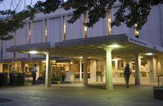 UNC's Undergraduate Library (UL) at night.