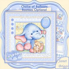 New Baby Boy Elephant 8x8 Decoupage & Insert Mini Kit & Birthday Ages