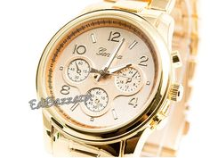 Męski złoty srebrny zegarek GENEVA HIT bloger retro biały CLASSIC Geneva, Watches, Retro, Classic, Accessories, Derby, Wristwatches, Clocks, Classic Books