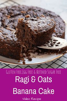 Healthy Ragi Banana Cake with Chocolate Chips and Walnuts - Eggless and Gluten Free Cake made with un refined Sugar ,Oats and Finger Millet. Easy Brunch Recipes, Healthy Cake Recipes, Healthy Baking, Baby Food Recipes, Baking Recipes, Dessert Recipes, Desserts, Brunch Ideas, Drink Recipes