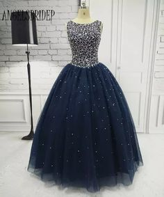Navy Blue Quinceanera Dresses for 15 years Backless Beaded Tulle Ball Gown Vestidos De 15 Anos Formal Party Gown Navy Blue Quinceanera Dresses, Elegant Prom Dresses, Sweet 16 Dresses, 15 Dresses, Evening Dresses, Formal Dresses, Cheap Dresses, Tulle Ball Gown, Tulle Dress