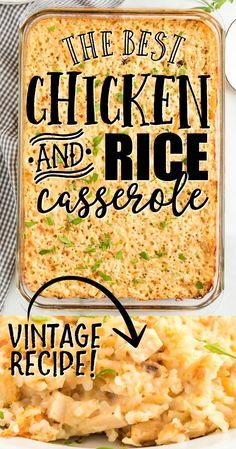 Chicken and Rice Casserole Baked Chicken Recipes, Crockpot Recipes, Cooking Recipes, Easy Chicken And Rice, Chicken Rice Casserole, Easy Casserole Recipes, Tortellini, The Best, Cream Soup