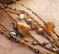 Two Glittering Extra Long Gemstone and Pearl Necklaces