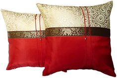 Set of Two Aurora Red Silk Throw Cushion Pillow Cover Case With Elephant Middle Stripe for Decorative Living Room Sofa Car Size 16 Inches * Startling big discounts available here : Christmas Home Decor Throw Cushions, Throw Pillow Covers, Bed Pillows, Cushion Pillow, Living Room Red, Living Room Sofa, Red Decorative Pillows, Christmas Pillow Covers, Red Silk