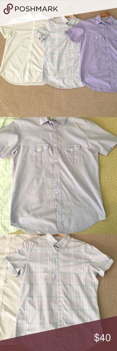 ⚡️SALE! 3 Calvin Klein Short-Sleeve Button-Downs! Lot of 3 Calvin Klein Button-Downs in fantastic condition! One is green with a subtle seersucker design • One is mint, grey, and white check print • One is purple linen. These short-sleeved shirts will be a standout addition to your closet! All shirts size Small Calvin Klein Shirts Casual Button Down Shirts