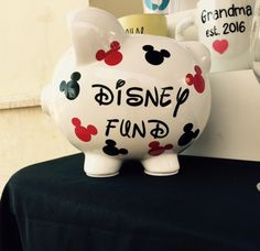 Disney Fund Large Personalized Piggy Bank by DesignedByYoux Pottery Painting, Ceramic Painting, Diy Painting, Painted Pottery, Pebble Painting, Disney Gift, Disney Crafts, Disney Fun, Disney Stuff