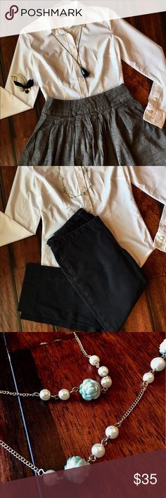 Perfect fall wardrobe bundle 🍃 offers accepted New York and Company, Gap, Forever 21 with Jewelry Included  White Button Up Top- New York and Company XS Stretch  Grey Chambray Skirt- Forever 21 Size M (Fits like a Small)  Black Ankle Pants- Gap Size 4 GAP Tops Blouses