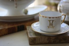 and a curated collecton of white monogrammed china…French-Kissed.com