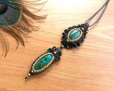 Chrysocolla macrame pendant. Bohemian jewelry design. Boho