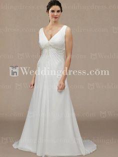 A-line wedding dress has a V-neckline. Beautiful beading motif gathered at the empire waistline.