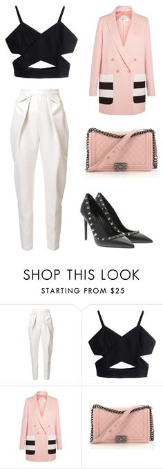 """<3"" by martina-vacca ❤ liked on Polyvore featuring Delpozo, MaxMara, Chanel and Valentino"