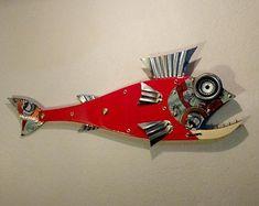 Handmade Fish ,Sea Turtle wall Art Sculptures and More by Unikos Fish Sculpture, Wall Sculptures, Garden Sculptures, Fish Wall Art, Fish Art, Steampunk Theme, Seaside Art, Fisherman Gifts, Beach House Decor