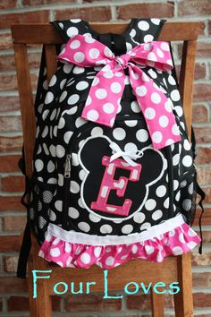 Girls Full Size Minnie Mouse Backpack...Black and White Polkadot...Personalized...Four Loves on Etsy, $35.00