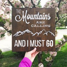 Mountains String Art The Mountains Are Calling And by WoodlandLane