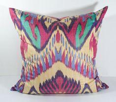 SALE for 20x20 colorful ikat pillow cover cushion case, red, green, cream, ikat, ikats, design, interior, one sample, handmade, home, uzbek