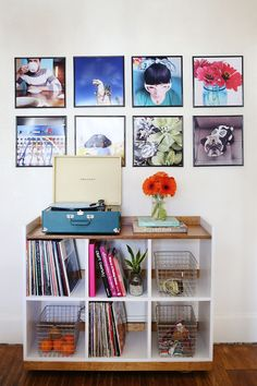 Use for record storage but put a nicely stained plank on top- perhaps from exotic woods? Framed Records, Record Wall, Vinyl Record Display, Record Shelf, Record Cabinet, Do It Yourself Inspiration, Home Decor Inspiration, Sweet Home, Living Comedor