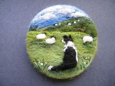Hand Made Needle Felted Brooch/Gift - Gwen and her Hills by Tracey Dunn: