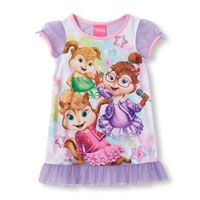 Toddler Girls Short Sleeve Alvin And The Chipmunks Chipettes Nightgown
