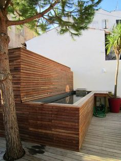 Une piscine hors sol bardage en bois g rer contrainte de terrain et esth tis - Mini piscine pour terrasse ...