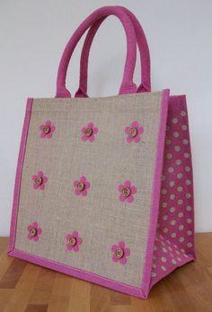Items similar to Natural Jute Hessian Medium Pink Polka Dot Trim Shopping Bag - 9 Felt Flowers Design on Etsy