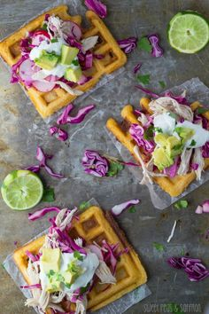 Chipotle-Cornmeal Waffle Tostadas with Chicken & Lime Crema. Made with better batter instead of all purpose flour for gluten free. Mixed together cabbage, avocado, tomato, bell pepper and lime juice in a bowl and let sit for topping. Cornmeal Waffles, Savory Pancakes, Pancakes And Waffles, Tostadas, Chipotle, Waffle Maker Recipes, Waffle Toppings, Lime Chicken, Grilled Chicken