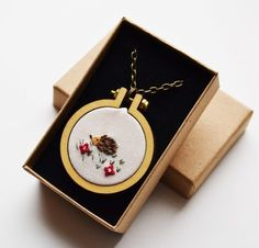 Hedgehog Necklace Miniature Hand Embroidery 1 Inch Hoop