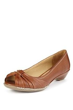 5c4691714cd385 Buy the Footglove™ Original Leather Wide Fit Ruched Peep Toe Shoes from  Marks and Spencer s range.