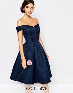 fe1b8cb601 Chi Chi London Midi Prom Dress with Full Skirt and Bardot Neck at asos.com. Vestidos  De Fiesta ...