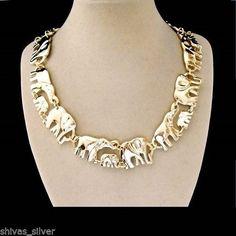 Halskette mit Elefanten, vergoldet, Modeschmuck