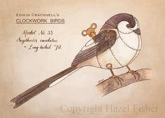 Clockwork Bird - Long Tailed Tit - steampunk ACEO print by Hazel Fisher #aceo #bird #steampunk