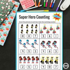 Super Hero Counting Maths Sheets · The Inspiration Edit Maths Eyfs, Eyfs Activities, Kindergarten Activities, Superhero Kindergarten, Superhero Classroom Theme, Superhero Party, Classroom Themes, Preschool Printables, Preschool Math