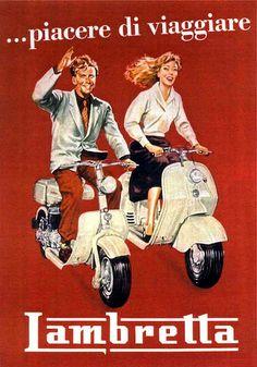 1954 ... piacere di viaggiare. Lambretta (Keijo K. Knutas) Tags: 1954 lambretta scooter motorbike motorcycle ad advert poster