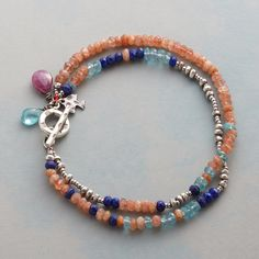 """BEAUTIFUL DAY BRACELET--Lapis, sterling, sunstone, apatite and pink sapphire convene in a colorful two-strand bracelet that's all about joy. Sterling silver toggle. Exclusive. 7-1/2""""L."""