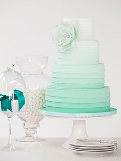alexia dives posted sea foam green ombre wedding cake {I'm really thinking of gunmetal and amethyst as my wedding colors.an ombre gunmetal grey wedding cake would be tits!} to their -wedding cakes- postboard via the Juxtapost bookmarklet. Candybar Wedding, Mint Wedding Cake, Wedding Mint Green, Wedding Colors, Wedding Ideas, Gold Wedding, Peacock Wedding, Wedding Inspiration, Striped Wedding