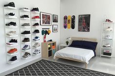 IKEA® and HYPEBEAST Design the Ideal Sneakerhead Bedroom is part of Ikea bedroom For Teens - Plenty of space to display your kicks, and even room for a bed Ikea Bedroom, Bedroom Apartment, Bedroom Ideas, Bedroom Decor, Bedroom Shelves, Apartment Ideas, Bed Shelves, Bedroom Designs, Ikea Room Ideas