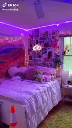 Neon Bedroom, Indie Bedroom, Indie Room Decor, Room Design Bedroom, Room Ideas Bedroom, Girls Bedroom, Bedroom Decor, Bedroom Inspo, Dream Teen Bedrooms