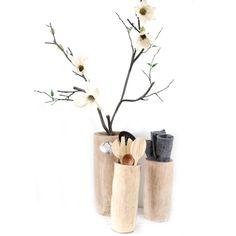 Mooie boomstam vijzels voor in de keuken of als vaas. Multifunctionele vijzels voor de pollepels, bloemen of andere mooie toepassingen in huis.